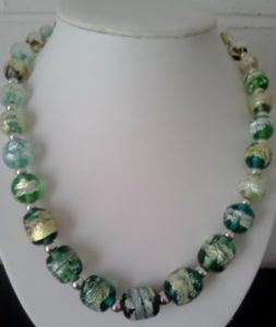 Green flameworked necklace
