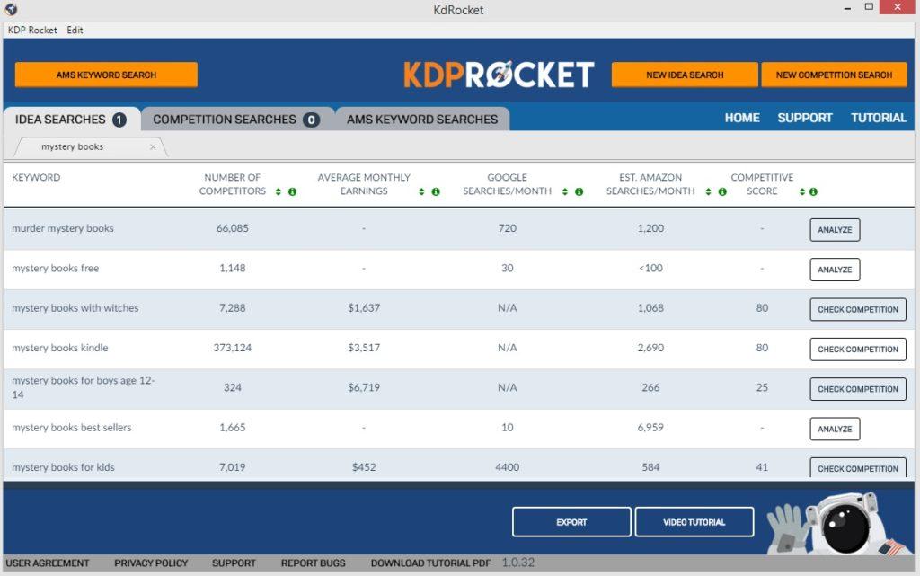 KDP Rocket - Idea Searches screen