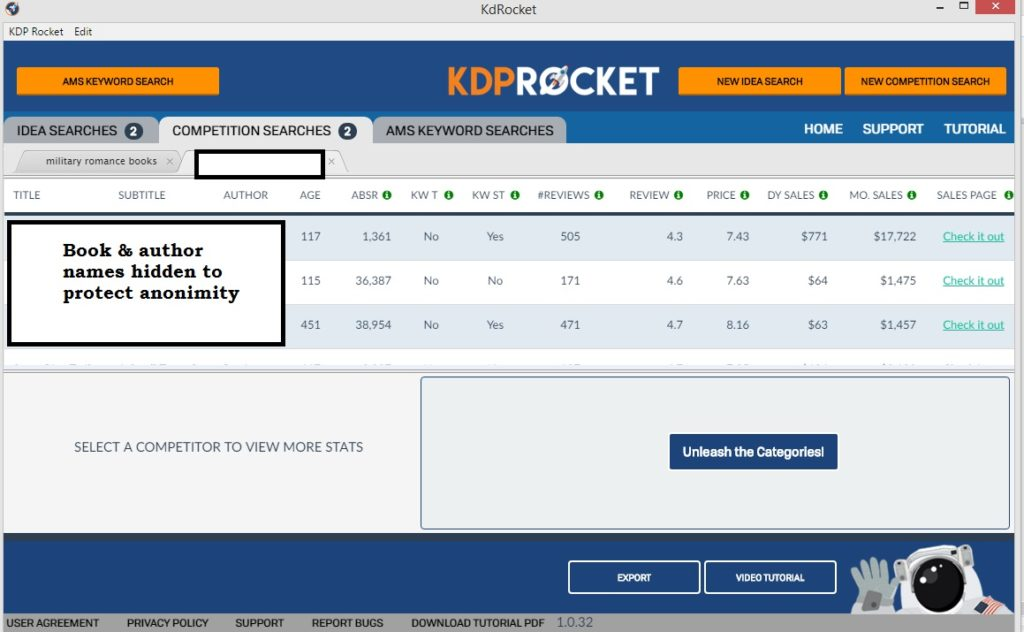 KDP Rocket - Competition Searches screen