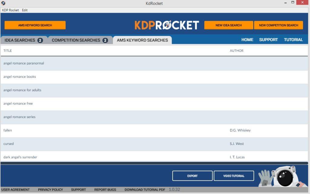KDP Rocket - AMS Keyword Searches screen