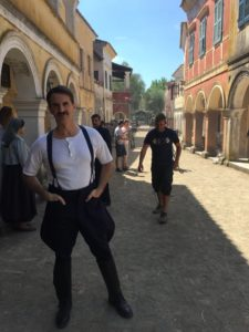 Kostas Krommydas on the set of The Durrells of Corfu